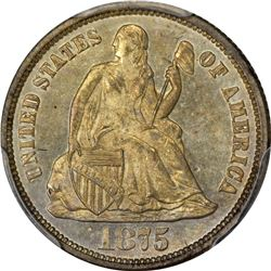 1875 Seated Liberty 10¢. MS-64 PCGS.