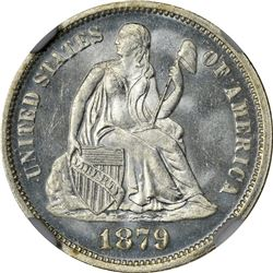 Satiny Gem Mint State 1879 Dime. 1879 Seated Liberty 10¢. MS-67 NGC.