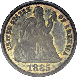 1885 Seated Liberty 10¢. Proof-65 PCGS.