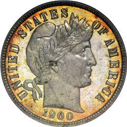 1900 Barber 10¢. Proof-66 PCGS.