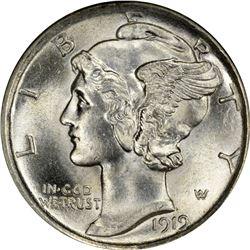 1919 Mercury 10¢. MS-62 FB NGC.