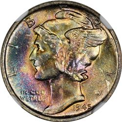 Superb Gem FB 1945-S Mercury Dime Tied for Finest FB Seen by NGC. 1945-S Mercury 10¢. MS-68 FB NGC.