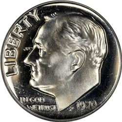 1970 Roosevelt No S 10¢. Proof-67 Cameo PCGS.