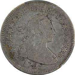Collector-Grade 1796 Quarter Dollar. 1796 Draped Bust 25¢ Small Eagle. B-2. Rarity-3. Good-04 PCGS.