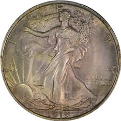 Choice Uncirculated 1919 Half Dollar. 1919 Walking Liberty 50¢. MS-64 PCGS.