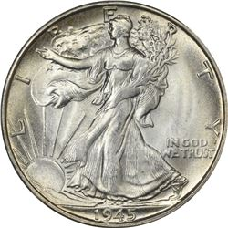 Superb Gem Uncirculated 1945-S Half Dollar Tied for Finest Certified at NGC. 1945-S Walking Liberty