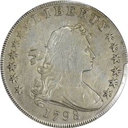 1798 Heraldic or Large Eagle $1. Pointed 9. B-22, BB-104. Rarity-3. Genuine - Cleaned - VF Details P