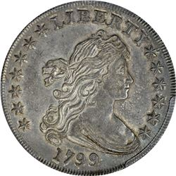 Impressive Choice AU 1799 Bust Dollar. 1799 Draped Bust $1. B-14, BB-167. AU-58 PCGS.