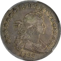 1799 Draped Bust $1. Irregular Date, Blundered Stars. B-15, BB-152. Rarity-3. VF-30 PCGS.