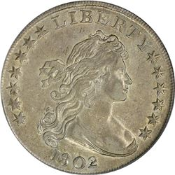 Richly Attractive AU Details 1802 Bust $1. 1802 Draped Bust $1. B-6, BB-241. Rarity-1. Genuine - Cle