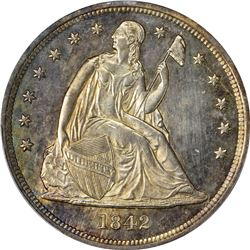 1842 Seated Liberty $1. MS-63 PCGS.