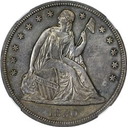 Choice Uncirculated 1850 Silver Dollar Ex Eric P. Newman. 1850 Seated Liberty $1. MS-63 NGC.