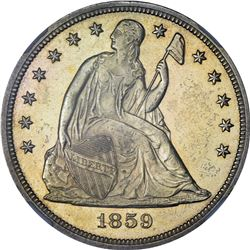Mint State 1859-S Silver Dollar. 1859-S Seated Liberty $1. MS-61 NGC.