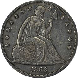 1863 Seated Liberty $1. Genuine - Damage - AU Details PCGS.