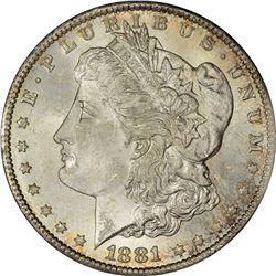 1881-CC Morgan $1. MS-65 PCGS.