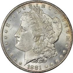 1881-CC Morgan $1. MS-64 PCGS.