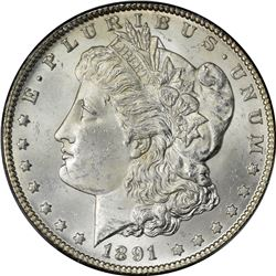 1891-CC Morgan $1. MS-64 PCGS.