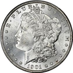 Lustrous Choice Mint State 1901-S $1. 1901-S Morgan $1. MS-63 PCGS.