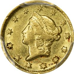 Pleasing 1849 Dahlonega Gold $1. 1849-D Gold $1. Winter 1-A. Genuine - Rim Damage - AU Details PCGS.