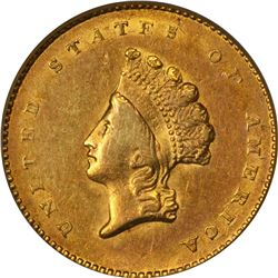 1854 Gold $1. Type II. AU-50 PCGS.