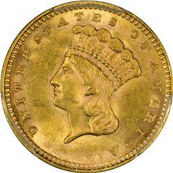 1857 Gold $1. MS-62 PCGS.