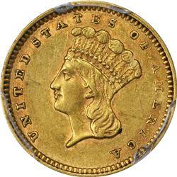 1862 Gold $1. AU-55 PCGS.