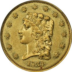 1834 Classic Head Gold $2.50. Breen-6138. Small Head, Large Arrowheads. AU-53 PCGS.