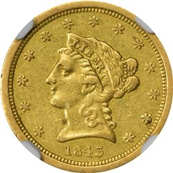 1843-O Gold $2.50. Small Date. Winter 1. AU-53 NGC.