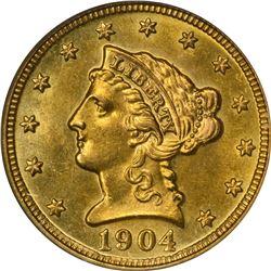 1904 Gold $2.50. MS-621 PCGS.