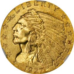 1927 Gold $2.50. MS-63 NGC.
