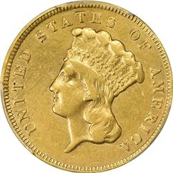 1874 Gold $3. Genuine - Tooled - AU Details PCGS.