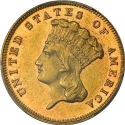 Choice AU 1883 $3 Just 900 Minted. 1883 Gold $3. AU-58 PCGS.