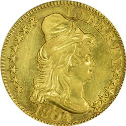 AU Details 1804 Half Eagle. 1804 Gold $5. BD-2. Rarity-4+. Normal or Small 8. Genuine - Cleaned - AU