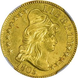 Uncirculated Details 1805 Half Eagle. 1805 Gold $5. BD-1. Rarity-3+. Perfect 1, Close Date. Genuine