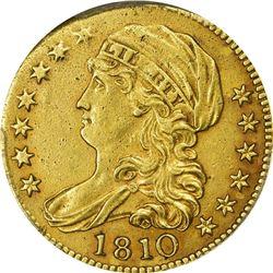 EF Details 1810 Half Eagle. 1810 Gold $5. Large Date, Large 5. BD-4. Rarity-2. Genuine - Ex Jewelry