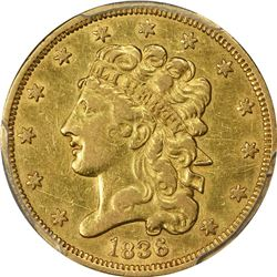 1836 Gold $5. Breen-6510. Large 5. Genuine - Cleaned - AU Details PCGS.