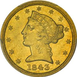 Choice AU 1843-C Half Eagle. 1843-C Gold $5. Winter 2. AU-58 PCGS.
