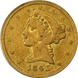 1843-D Gold $5. Winter 10-G. Medium D, Large Letters. Fine-15 PCGS. OGH.