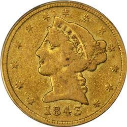 1843-D Gold $5. Winter 10-G. Medium D, Large Letters. Fine-15 PCGS. OGH.