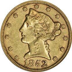 1852 Gold $5. AU-50 NGC.