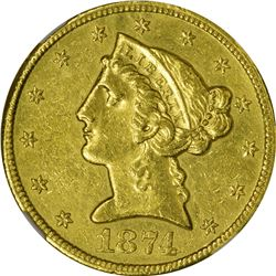 AU Details 1874-CC Half Eagle. 1874-CC Gold $5. Winter 2-D. Genuine - Improperly Cleaned - AU Detail