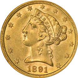 Choice AU 1891-CC Half Eagle. 1891-CC Gold $5. Winter 2A. AU-58 NGC.
