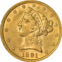 Choice AU 1891-CC Half Eagle. 1891-CC Gold $5. Winter 2A. AU-58 NGC.