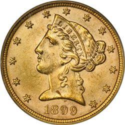 1899 Gold $5. MS-63 PCGS.