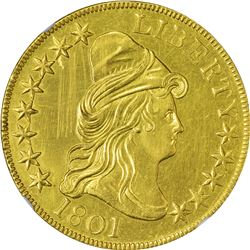 Uncirculated Details 1801 Eagle. 1801 Gold $10. BD-2. Rarity-2. Genuine - Obverse Scratched, Cleaned