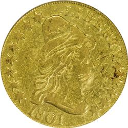 VF Details 1801 Eagle. 1801 Gold $10. BD-2. Rarity-2. Genuine - Ex-Jewelry, Edge Damaged - VF-35 Det