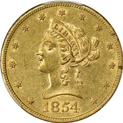 1854-S Gold $10. Genuine - Rim Damage - AU Details PCGS.