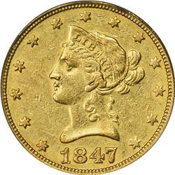 1847-O Gold $10. Winter 1. AU-50 PCGS.