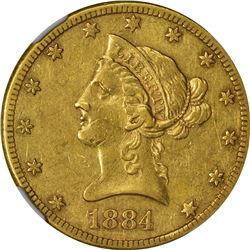 Pleasing AU 1884-CC Eagle. 1884-CC Gold $10. Winter 1-A. AU-53 NGC.