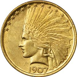 1907 Gold Indian $10. AU-55 PCGS. OGH.